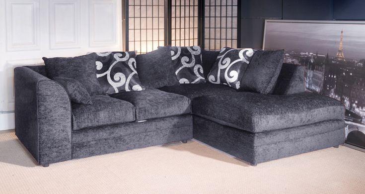 Jackson Chenille Grey Fabric Corner sofa