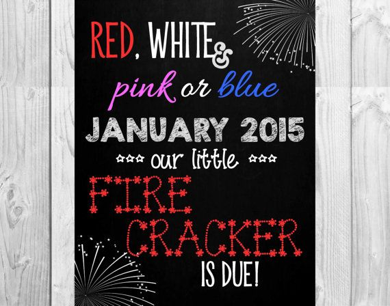 """Chalkboard Pregnancy Announcement // July 4th Themed // (11""""x14""""): Personalized *Digital File* by MMasonDesigns"""