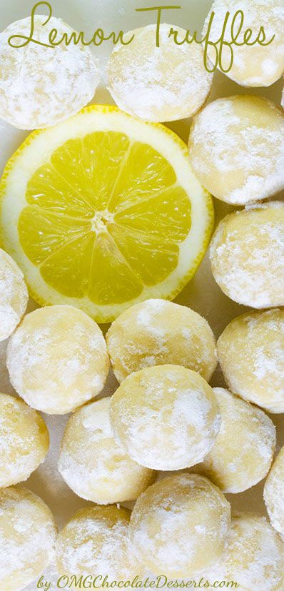 White Chocolate Lemon Truffles | OMGChocolateDesserts.com | #chocolate #truffles #lemon #desserts