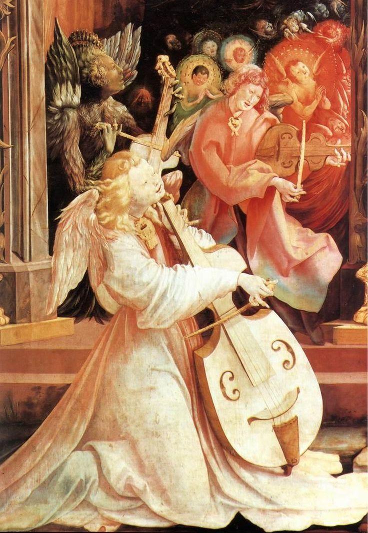 Annunciation, Angelic Concert(detail), c. 1515. by MatthiasGrünewald (German, 1470/80-1528).