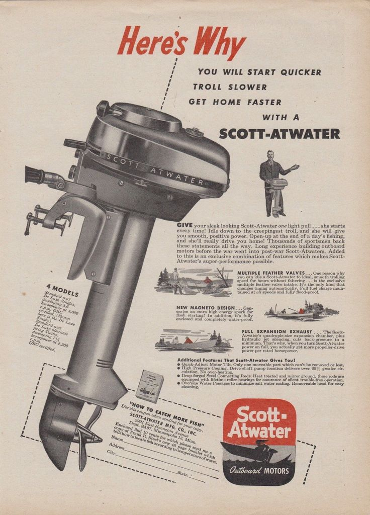 1955 scott atwater deluxe single 3 6 hp outboard motor for Seagull outboard motor value