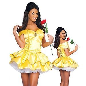 Sexy Adult Belle Princess Ladies Fancy Dress Fairy Tale Party Costume Outfits
