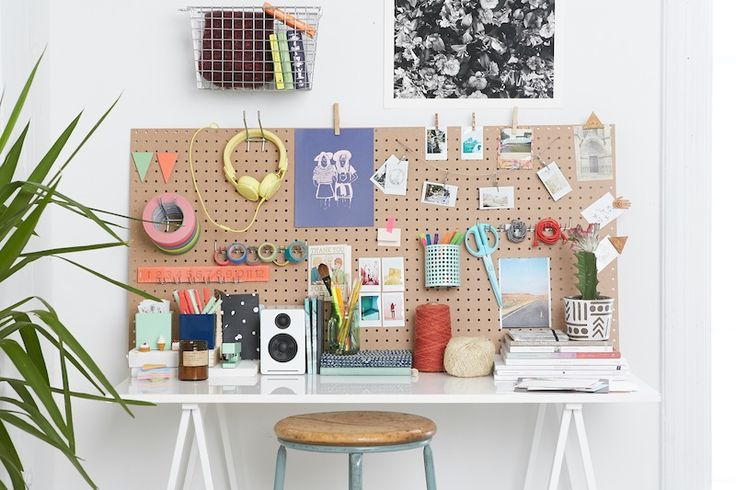 custom pegboard desk space - Urban Outfitters - Blog - Tips + Tricks: An Inspired Desk  - #UOnCampus #UOContest