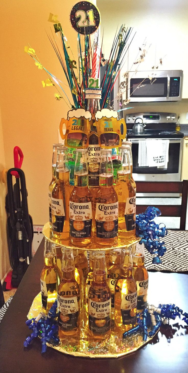 21st birthday beer cake! Made it for my boyfriends 21st & I just found the picture More