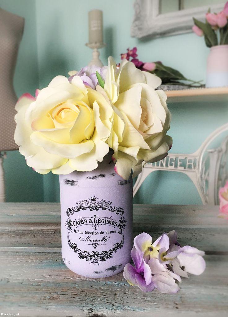 Fialova Vintage sklenená dekorácia, váza