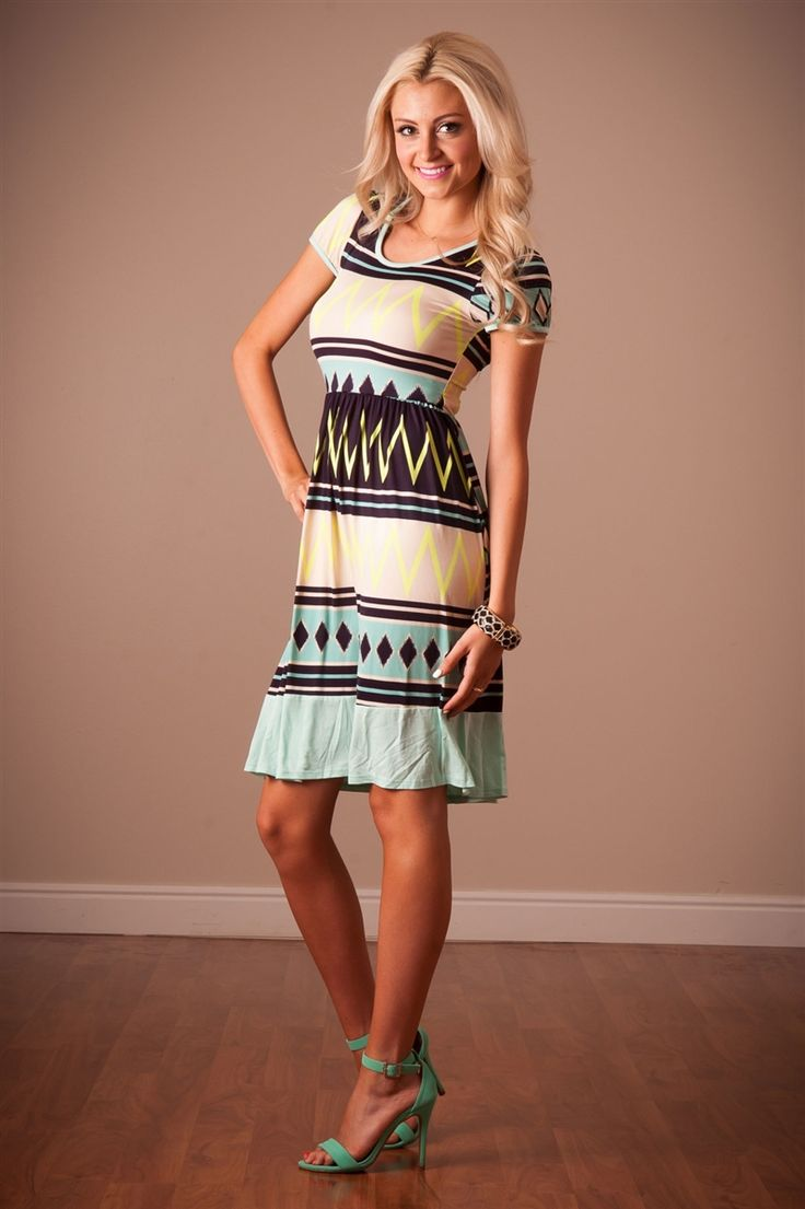 Mint Navy Summer Dress | Affordable Modest Boutique Clothes for Women | Trendy Modest Church Dresses for Women