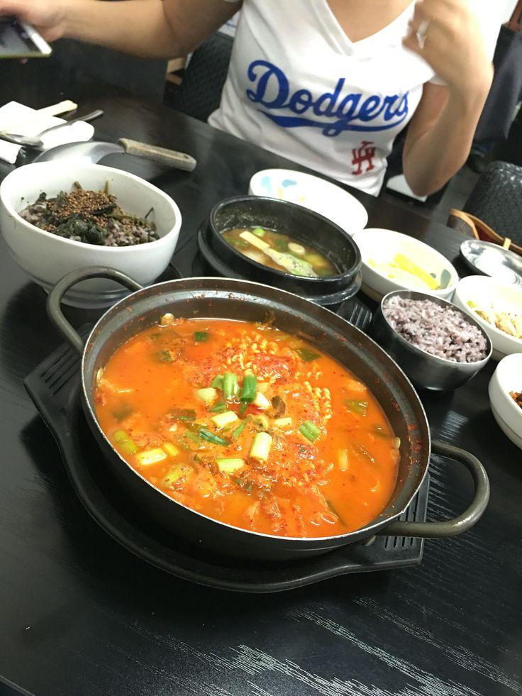 Korean Army Stew (BudaeJjigae) served boiling hot on this Korean aluminum pot.