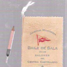 CARNET DE BAILE DE SALSA. SALONES CASTELLANO. JUVENTUD MONTAÑESA. HABANA, 1923.