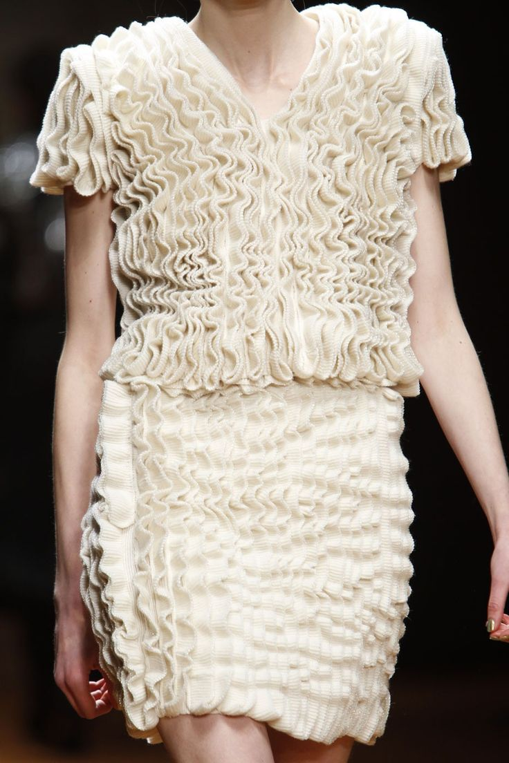 Knitted dress with rippling textures - textile manipulation; artful knitwear design // Laura Biagiotti