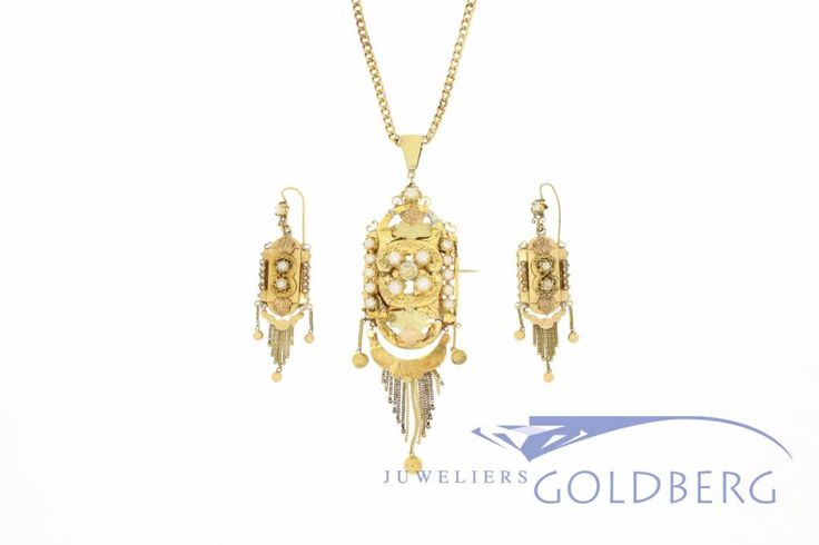 Beautiful antique 18k gold Demi-Parure (small set) consisting of -an 18k gold pendant / brooch with pearls and a single imitation diamond on an 18k gold chain, and of -two 18k gold earrings with pearls. This gorgeous set was created in the region of Antwerp (Belgium) and dates from the period 1870-1890. Especially in this period, jewelry was worn mostly on Sundays when attending mass.   For more information visit our site…