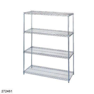 """Chrome Wire Shelf Kit 24"""" Dx36"""" Wx63"""" H 4 shelf by Wesco. $202.10. Wire Shelf Kit. SHELVING: WIRE 24"""" X 36"""" X 63"""". Standard Manufacturer Warranty"""