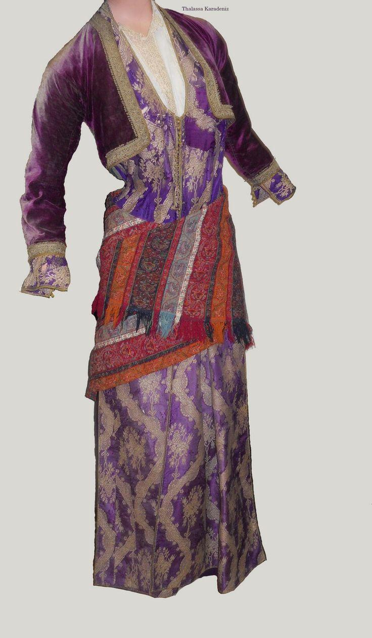 Traditional festive costumes of the Greek-Orthodox inhabitants from the Pontos region (Black Sea coast and hinterland).  Late-Ottoman era, urban style, early 20th century.