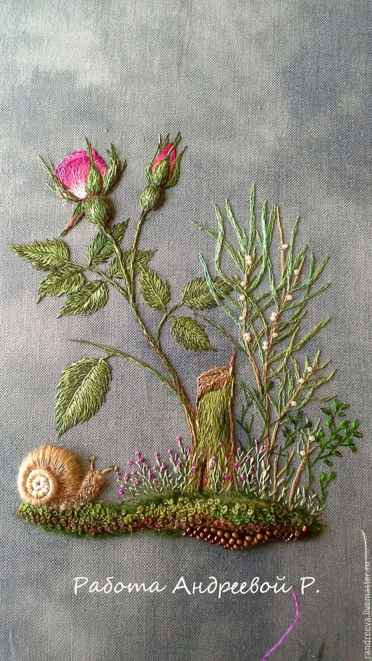 """Картины цветов ручной работы. Ярмарка Мастеров - ручная работа. Купить Картина вышивка миниатюра """"Мой сад"""". Handmade. Голубой"""
