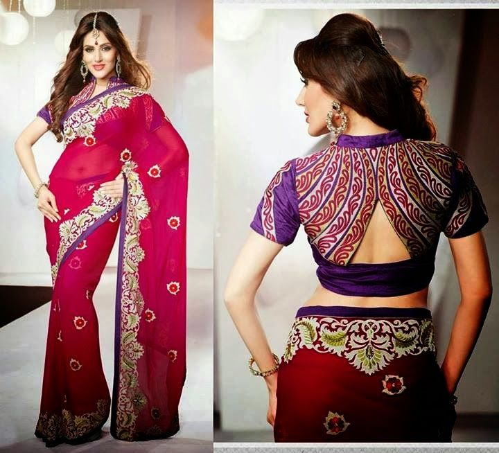 Luxury Designs Of Sarees With Back Neck Blouse For Young Girls From 2014   7pm Dress