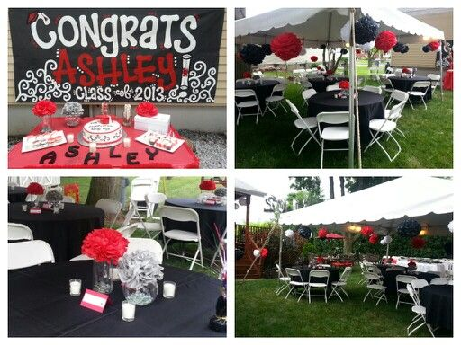 Red black theme pom pom outdoor party backyard cookout for Outdoor decorating ideas for graduation party