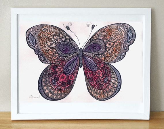 Orange Red Butterfly Art Print - Bedroom wall decor - Watercolor painting - Living room decor, Anniversary Gift Idea by DHANAdesign on Etsy