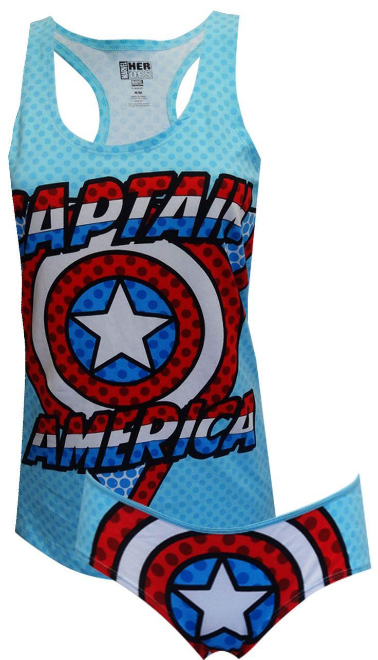 Marvel Comics Captain America Tank & Panty Set Unleash your inner superhero, ladies! These 95% cotton/ 5% spandex tank and pant...