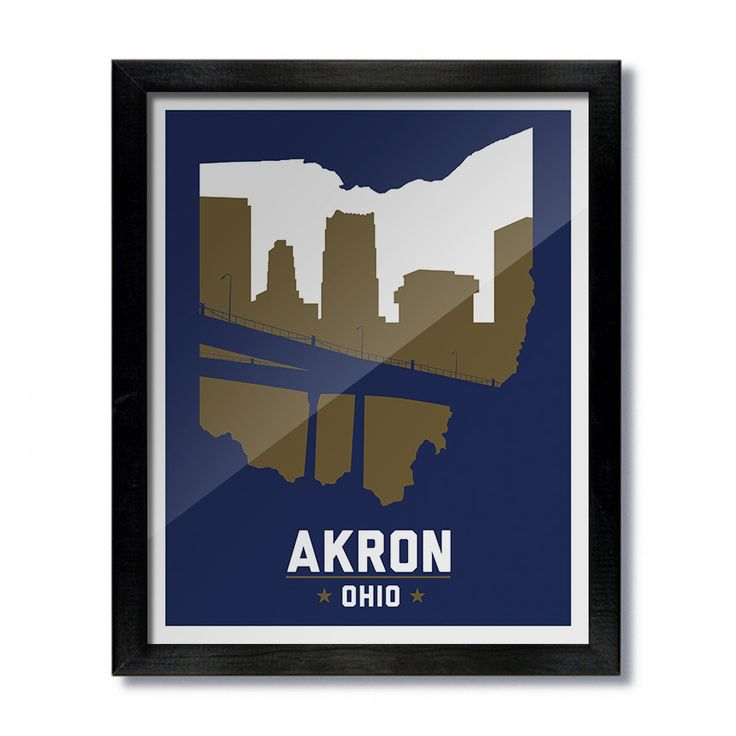 """Akron Ohio Skyline Print FRAME NOT INCLUDED This is a high quality print of our original, unique artwork, perfect for being framed or tacked to the wall. Two Sizes Available: 8""""x10"""" Print 16""""x20"""" Prin"""