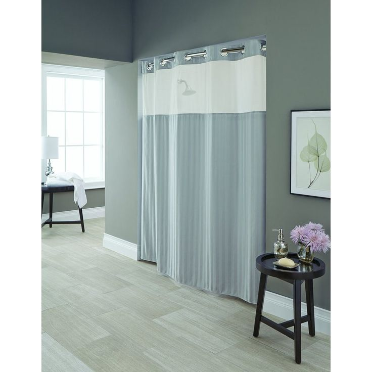 Hookless Park Avenue Strip Shower Curtain with Snap-On Liner