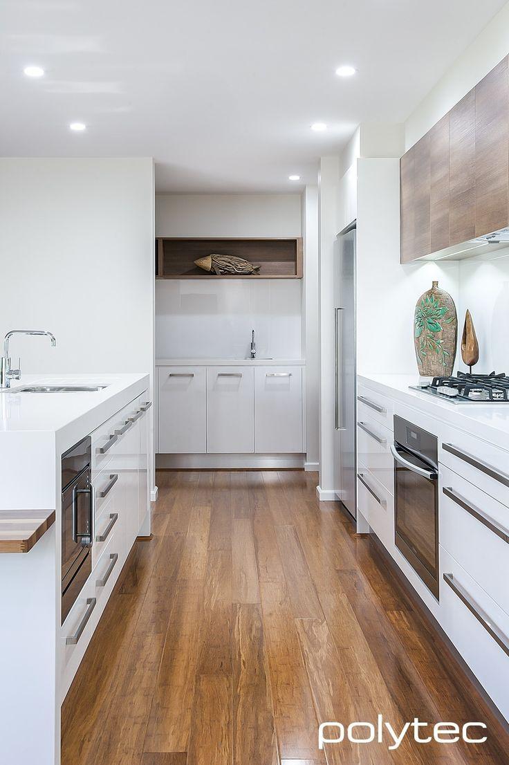 Doors in CREATEC Ultra White.  Overhead cupboards in RAVINE Sepia Oak