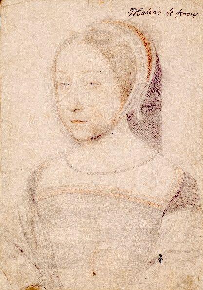 Renée de France, v.10 ans (1510-1574), Fille de Louis XII, Portrait attribué à Clouet