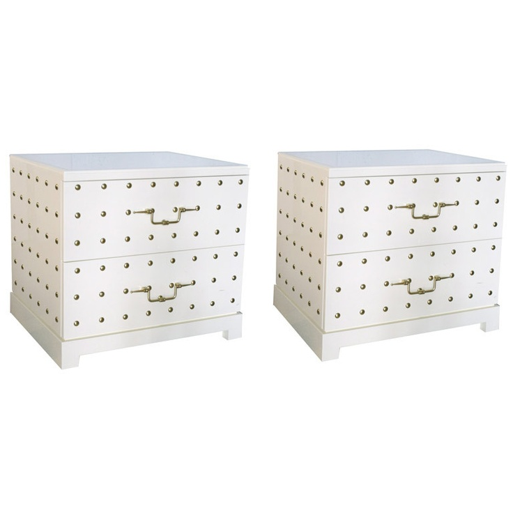 Pair of Studded Bedside Dressers by Tommi Parzinger, NY, 1950sBedside Dressers, Tommy Parzinger, Studs Bedside, Smaller Size, 1950S Usa, Parzinger 1950S, Furniture Projects, Again Furniture, Jewelry Boxes