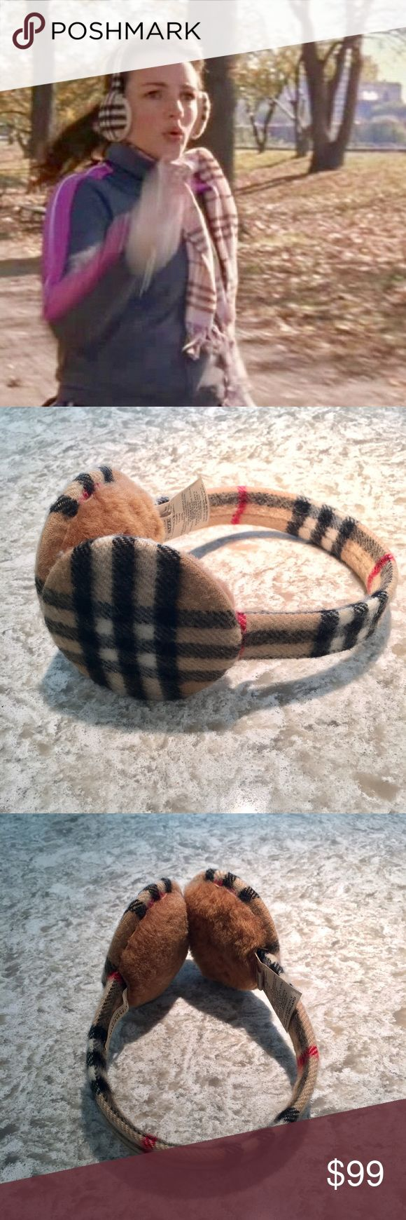 Burberry Nova Check Cashmere/Shearling Earmuffs Burberry earmuffs in camel color nova check. As sported by Charlotte York, will definitely keeps your ears toasty! Made of cashmere and shearling. Spectacular condition. Smoke free, pet free. No trades. Burberry Accessories Gloves & Mittens