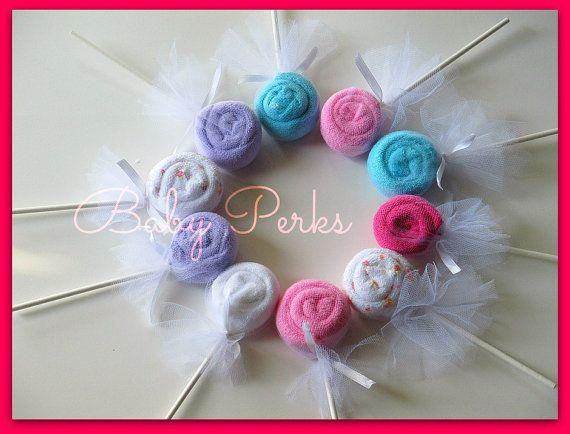 10  Washcloth Lollipop Baby shower favor  Choose Boy by MsPerks, $12.99