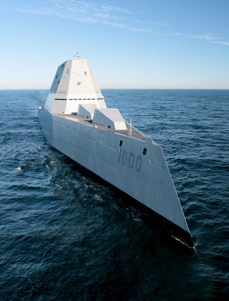 Future USS Zumwalt's first underway at sea