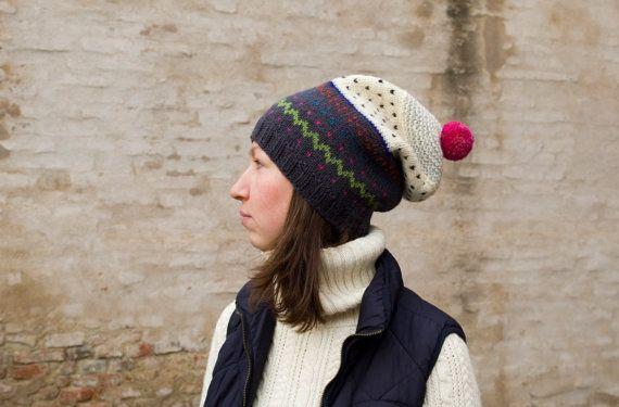 oversized colorful hat by POTSandKNITS on Etsy