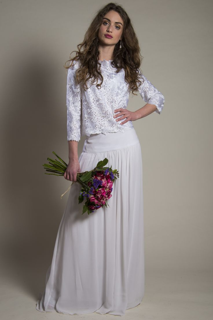 Couture white lace wedding top and silk georgette yoke skirt by Christine Trewinnard