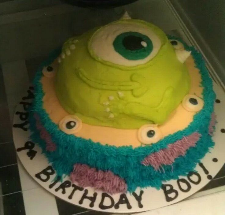 Monsters university cake . Mike, Sully, Squishy, Monsters Inc.