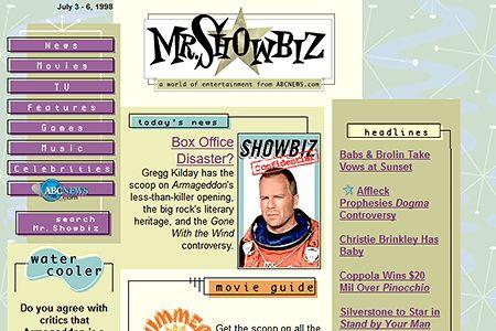 Mr. Showbiz website 1998