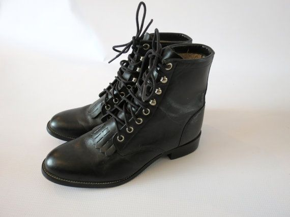 Justin Roper Boots / Roper Boots / Justin Boots Kiltie Boots Western Boots Lace Up Boots Size 5.5 7 Unisex Black Roper Boots Combat Boots