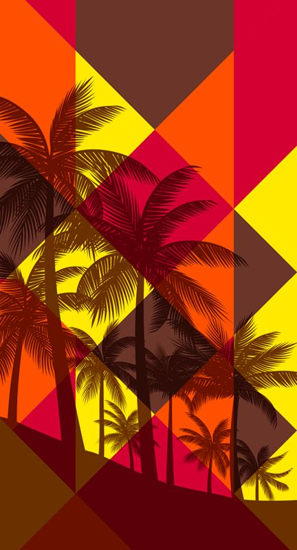 Sunset Shadows by Margaret Perez (Surf, Beach & Summer Illustrations, Print & Pattern)  See more at www.margaretperez.com #margaretperez #illustrations #printpattern #graphic #tropical #beach #summer #palmtrees #triangles #fashion