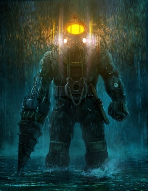 "Bioshock. Can't get enough of the ""Big Daddy"" steampunk diver war-machine combo."