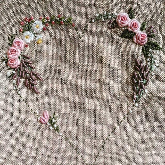 #hearts #love #rose#刺繡#手仕事のある暮らし