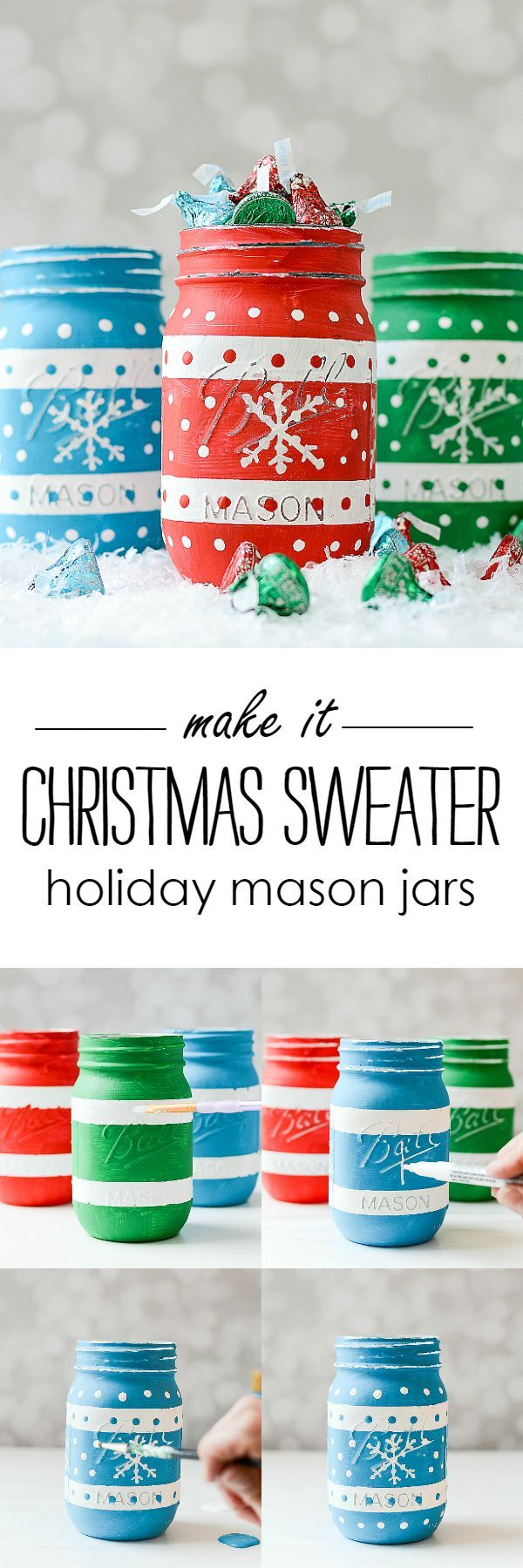Christmas Sweater Painted Mason Jars with Hershey Kisses Sweater Foils @It All Started With Paint blog http://www.itallstartedwithpaint.com #ad