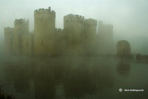 English Castles - Pictures of England - Rising Through The Mist, Bodiam Castle, Robertsbridge, East Sussex