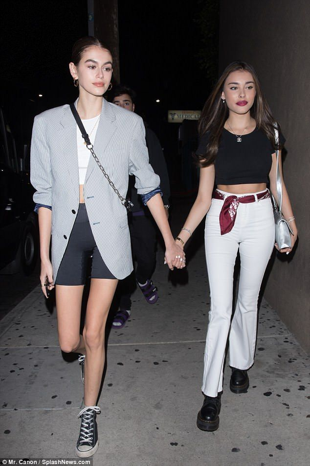 a4f946893eb7 Girls' night: Kaia Gerber stepped out in Los Angeles on Tuesday to check  out some live music with pal Madison Beer and her boyfriend Zack Bia