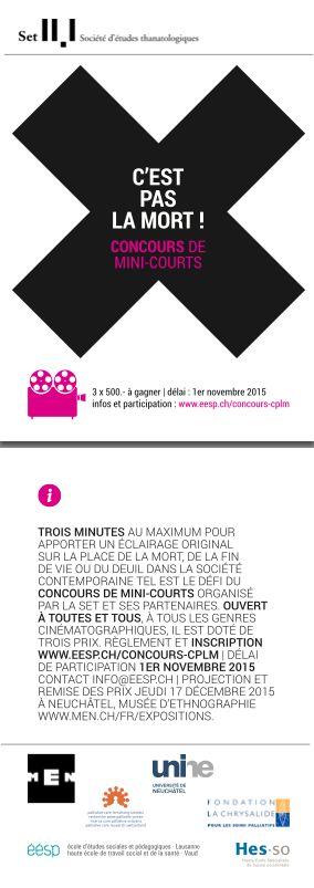 Flyer - C'est pas la mort, concours de mini-courts, MEN ©vertical-studio.ch #flyer #graphisme #design #print