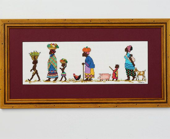 To Market - An African counted cross stitch design on Etsy, $8.00 AUD