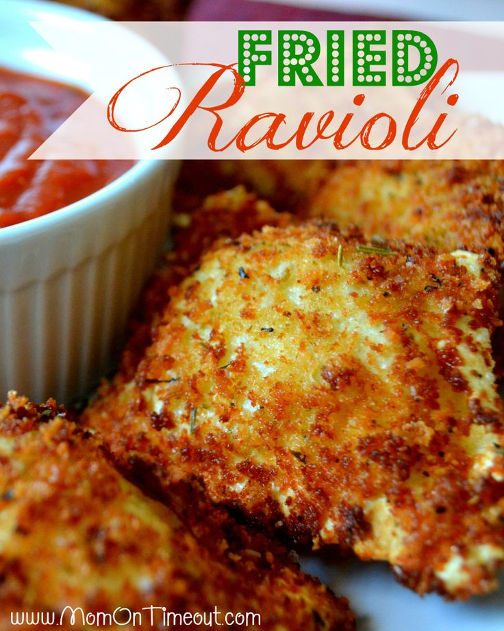 Fried Ravioli from MomOnTimeout.com | So delicious and perfectly paired with a marinara dipping sauce!  #recipe #appetizer