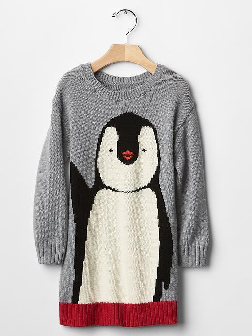 Intarsia penguin sweater dress