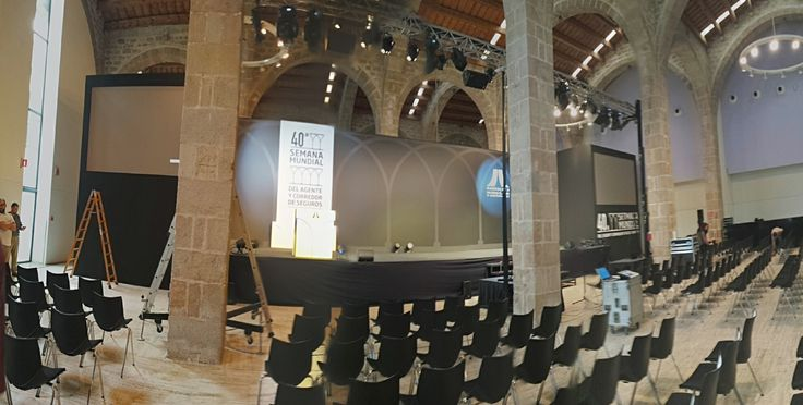Panoramic pic of the event builded by Gecom for an agency, for the '40th Semana mundial del Agente y Corredor de Seguros' at the stunning grounds of the  gothic shipyards in #Barcelona