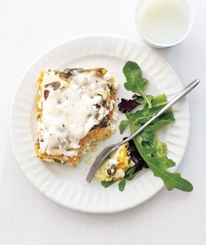 Slow-Cooker Squash Lasagna|Use frozen winter squash puree to cut down on prep time—it has all the flavor and nutrients you'll find in fresh squash. Ricotta and mozzarella ensure the final dish is creamy, cheesy, and rich.
