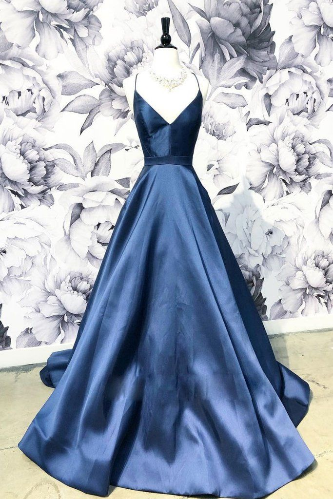 Simple v neck dark blue long prom dress, blue evening dress 3