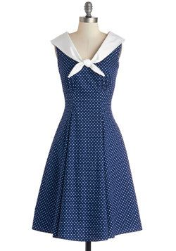 Cute Clipper Dress. Sound the horn and set sail in this adorable, sailor-style dress. #blue #modcloth