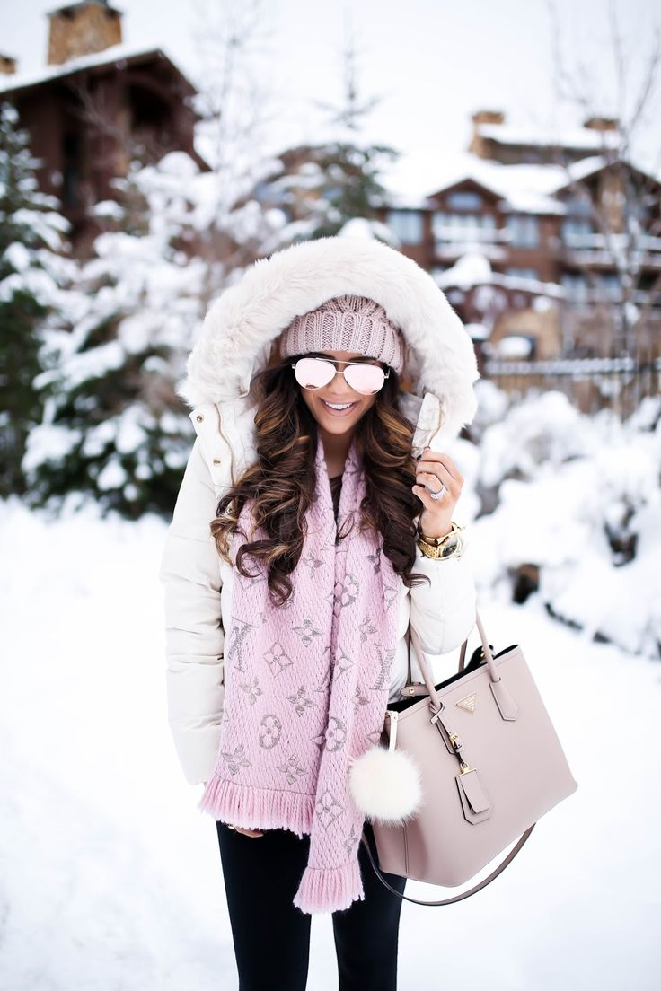 pink snow day outfit - lv scarf!