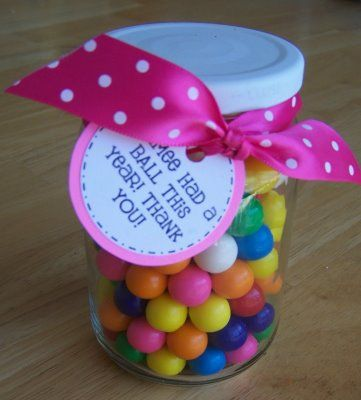 This would be a really cute idea for a teacher, except I'd probably get a jar at the beginning of the school year and have the kids write a little note every time the Teacher did something with or for them that they really appreciated, then they can present it to the Teacher at the end of the year.